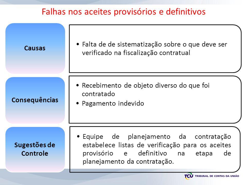 Falhas nos aceites provisórios e definitivos
