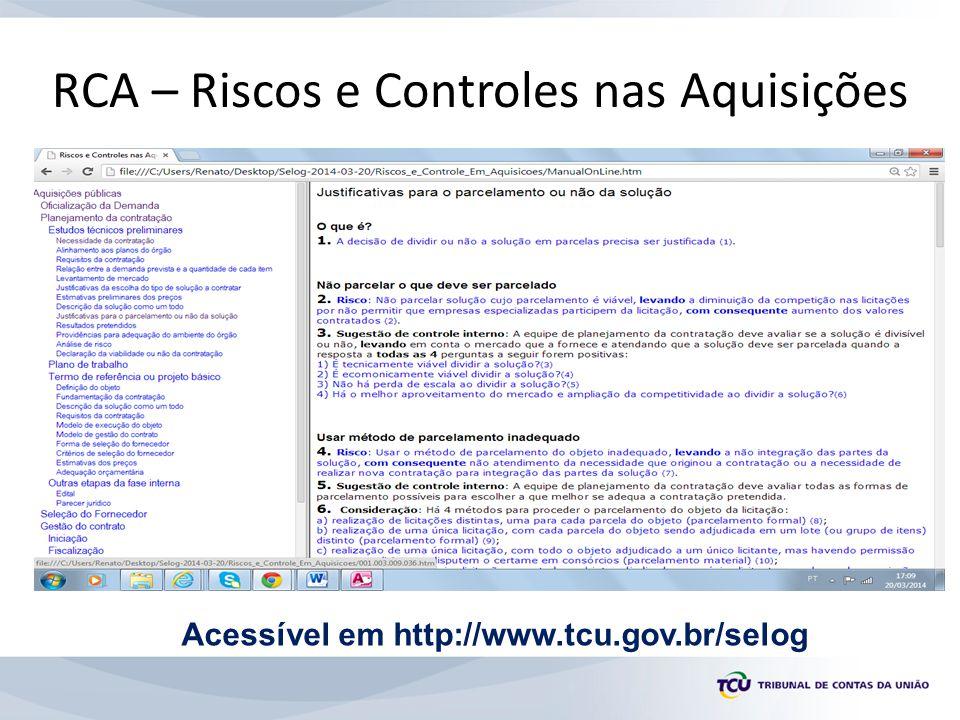 RCA – Riscos e Controles nas Aquisições