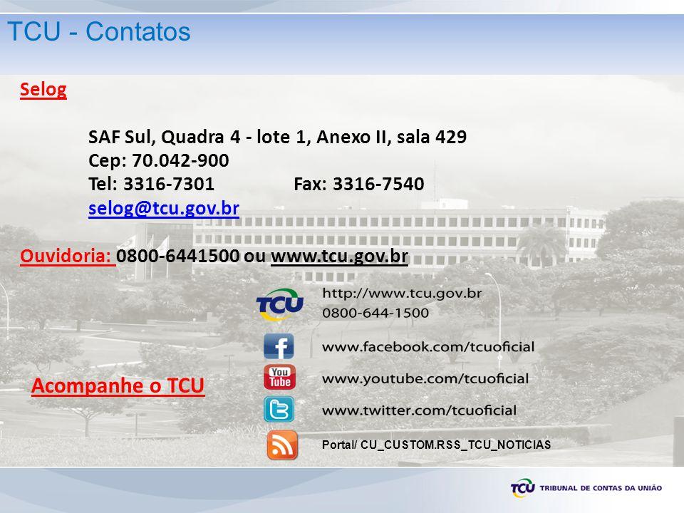 TCU - Contatos Acompanhe o TCU Selog