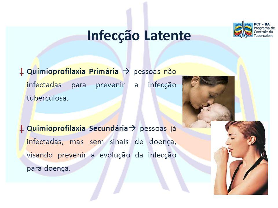 Infecção Latente Quimioprofilaxia Primária  pessoas não infectadas para prevenir a infecção tuberculosa.