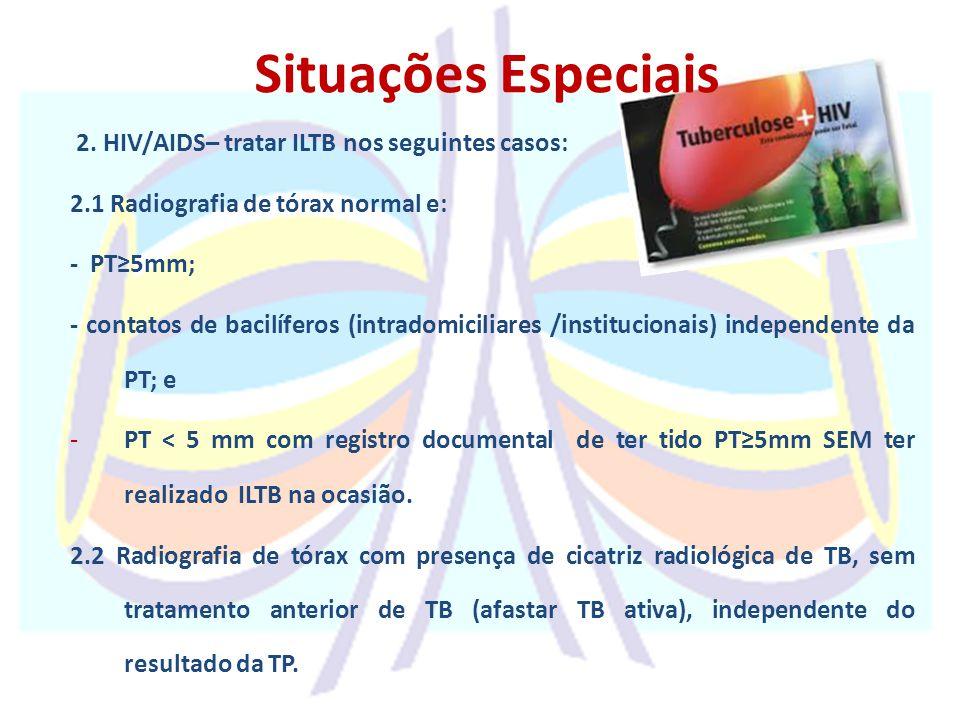 Situações Especiais 2. HIV/AIDS– tratar ILTB nos seguintes casos: