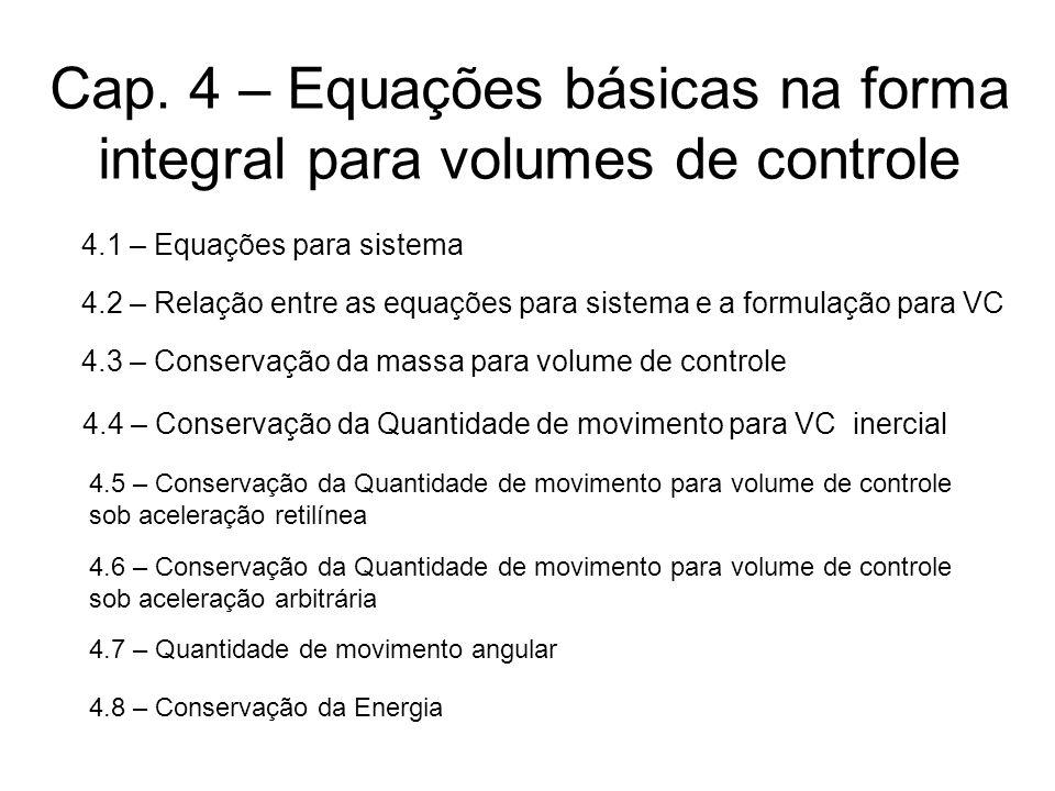 Cap. 4 – Equações básicas na forma integral para volumes de controle