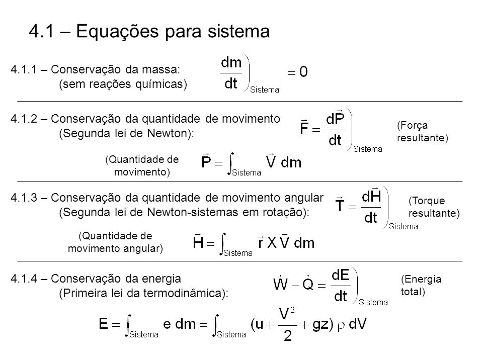 4.1 – Equações para sistema