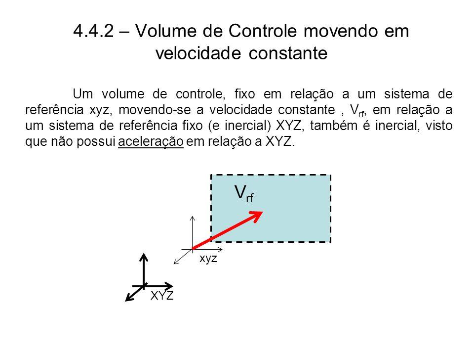 4.4.2 – Volume de Controle movendo em velocidade constante
