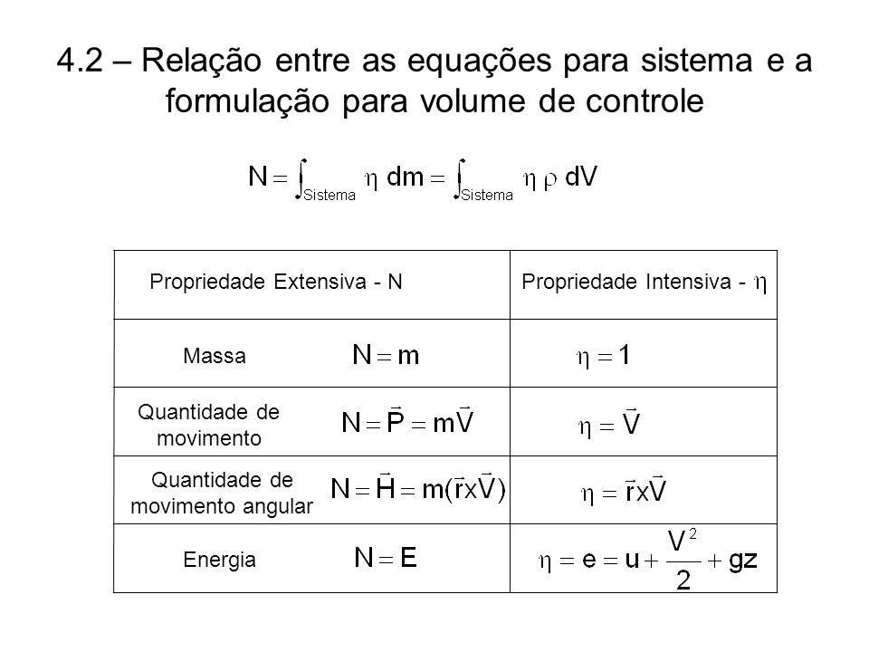 4.2 – Relação entre as equações para sistema e a formulação para volume de controle