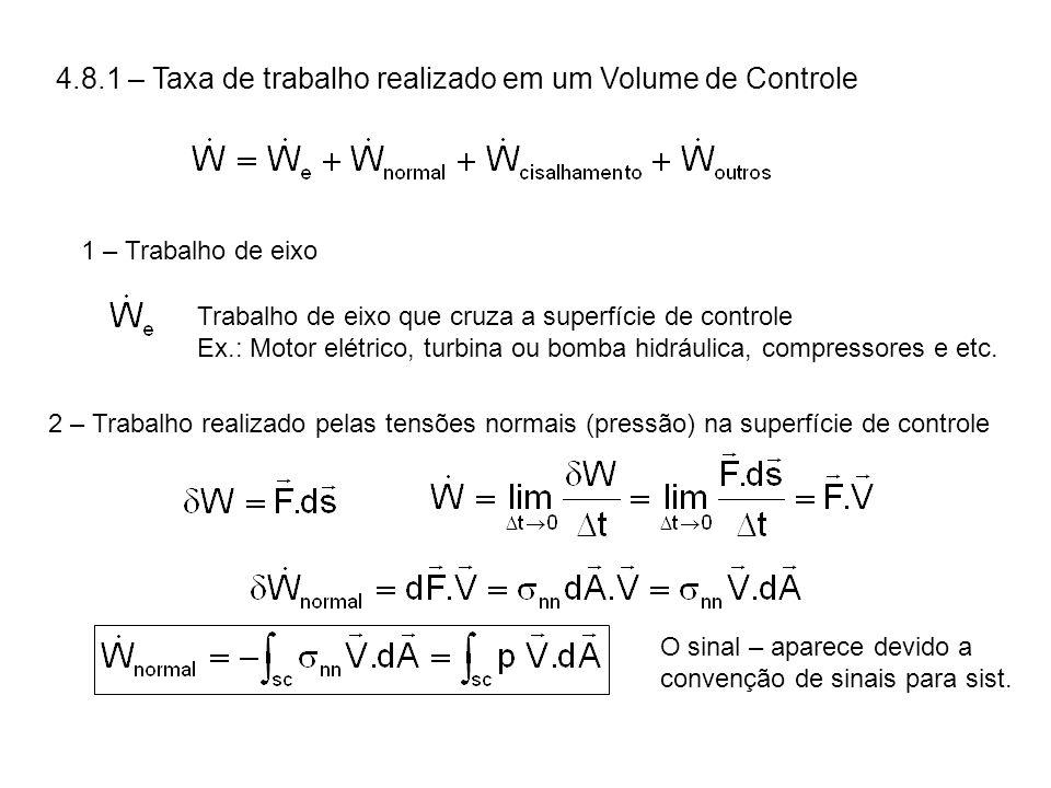4.8.1 – Taxa de trabalho realizado em um Volume de Controle