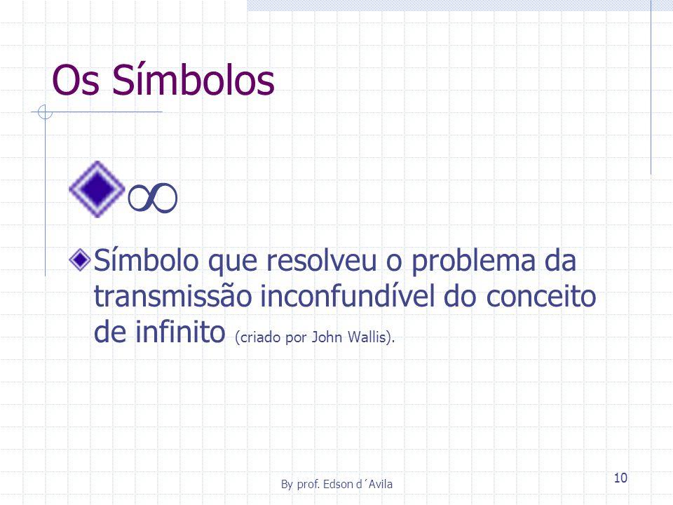 Os Símbolos  Símbolo que resolveu o problema da transmissão inconfundível do conceito de infinito (criado por John Wallis).