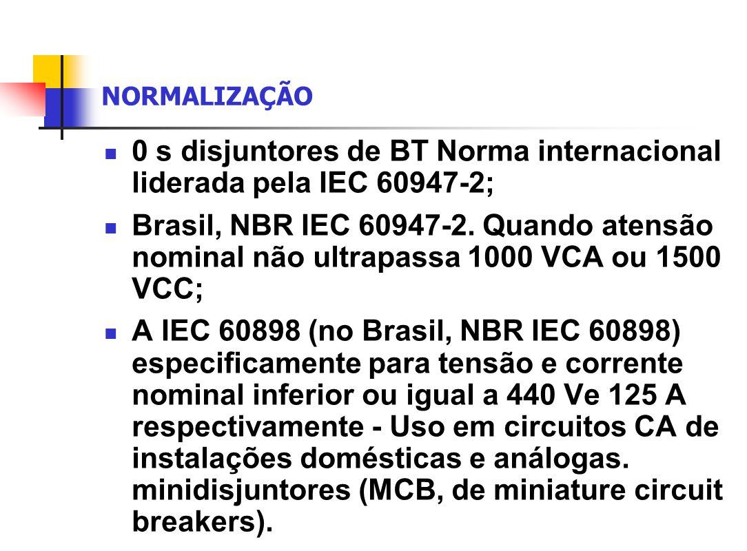 0 s disjuntores de BT Norma internacional liderada pela IEC 60947-2;