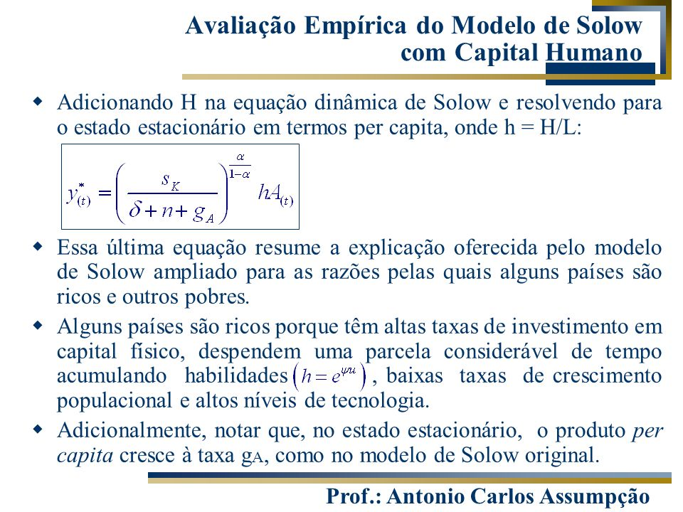 Avaliação Empírica do Modelo de Solow com Capital Humano