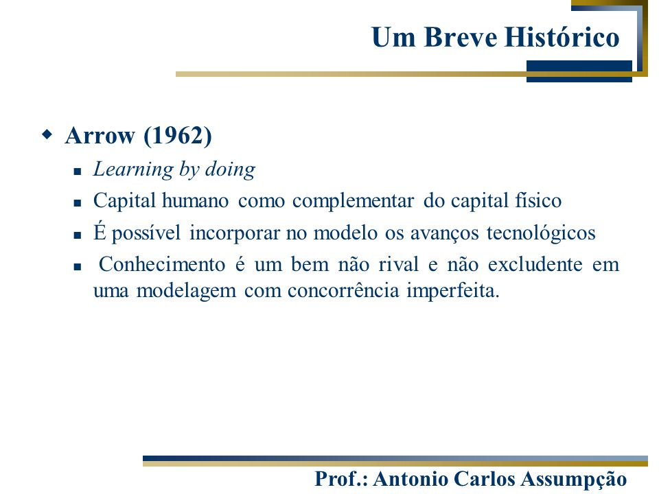 Um Breve Histórico Arrow (1962) Learning by doing