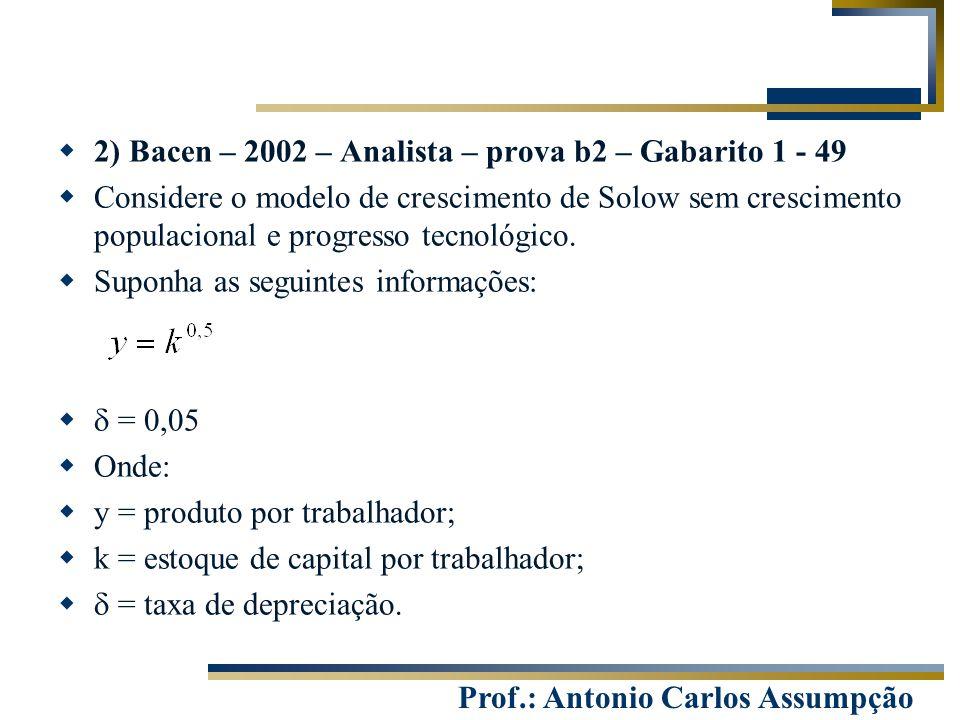 2) Bacen – 2002 – Analista – prova b2 – Gabarito 1 - 49