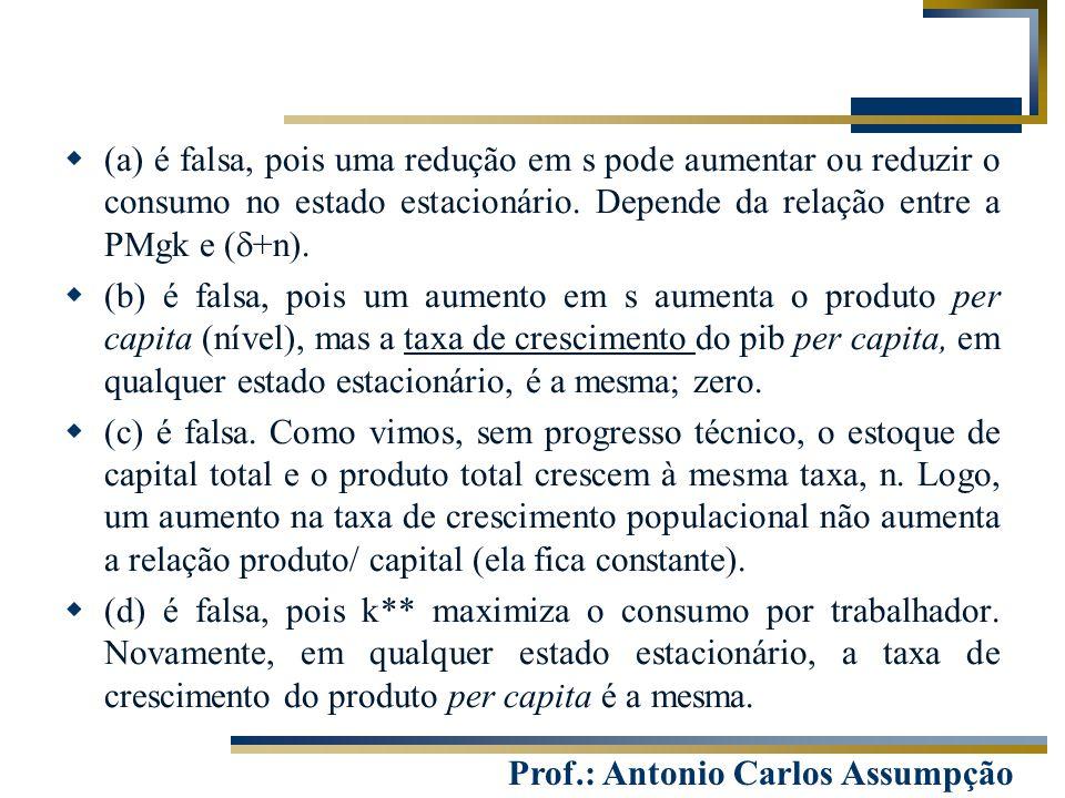 (a) é falsa, pois uma redução em s pode aumentar ou reduzir o consumo no estado estacionário. Depende da relação entre a PMgk e (d+n).