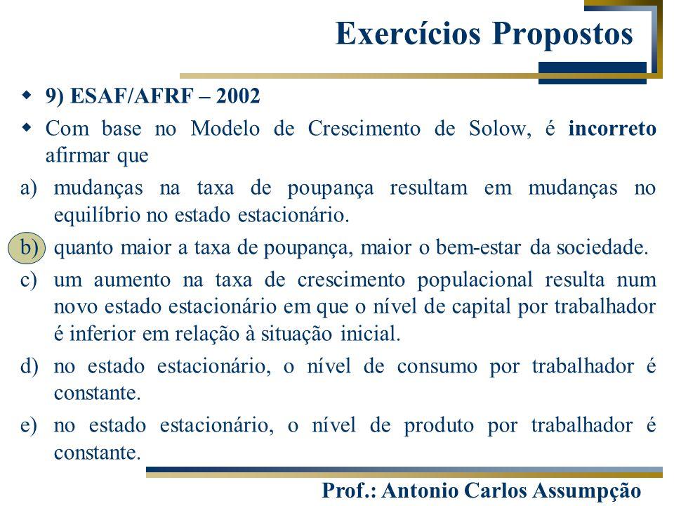 Exercícios Propostos 9) ESAF/AFRF – 2002
