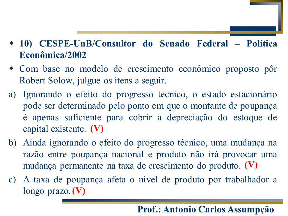 10) CESPE-UnB/Consultor do Senado Federal – Política Econômica/2002