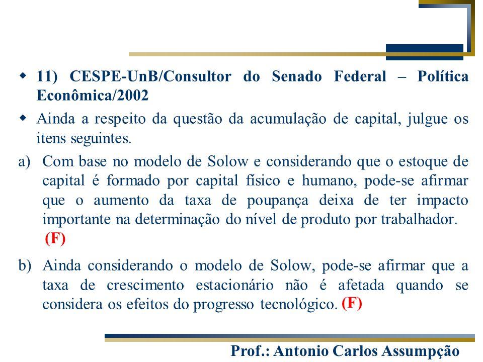 11) CESPE-UnB/Consultor do Senado Federal – Política Econômica/2002