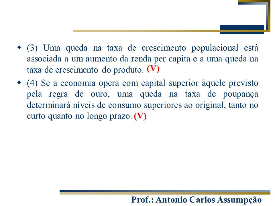 (3) Uma queda na taxa de crescimento populacional está associada a um aumento da renda per capita e a uma queda na taxa de crescimento do produto.
