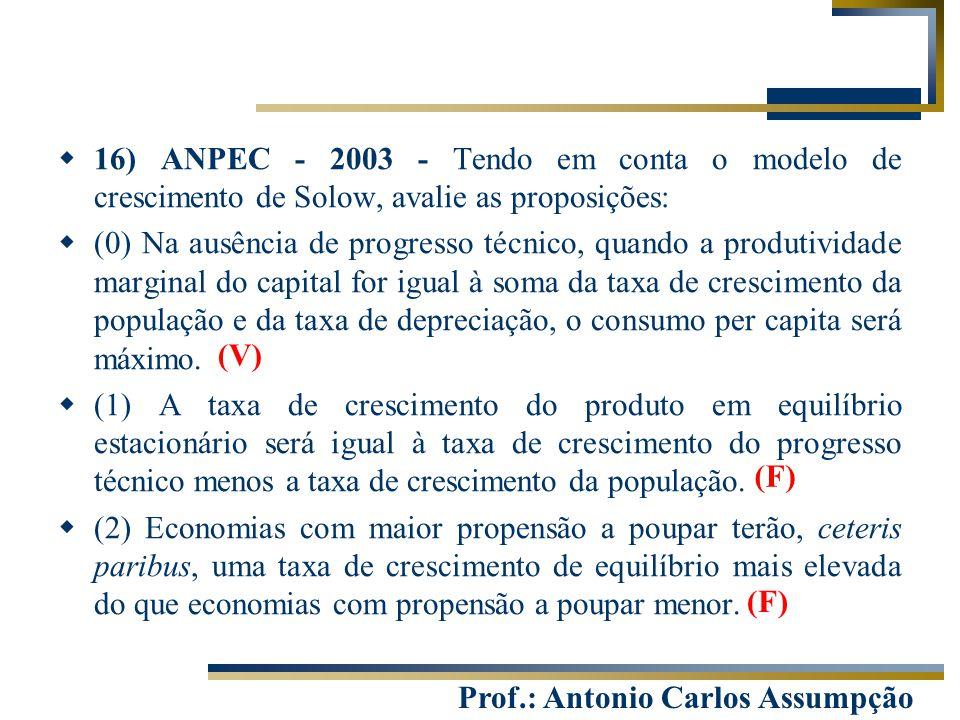 16) ANPEC - 2003 - Tendo em conta o modelo de crescimento de Solow, avalie as proposições: