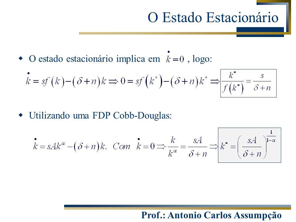 O Estado Estacionário O estado estacionário implica em , logo: