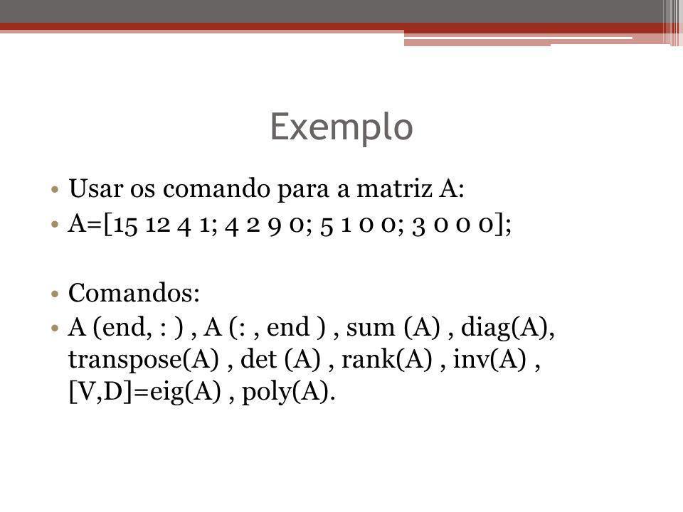 Exemplo Usar os comando para a matriz A:
