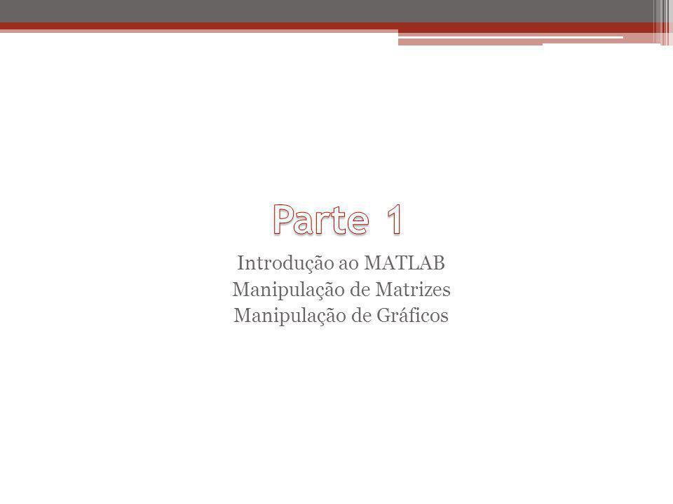 Parte 1 Introdução ao MATLAB Manipulação de Matrizes