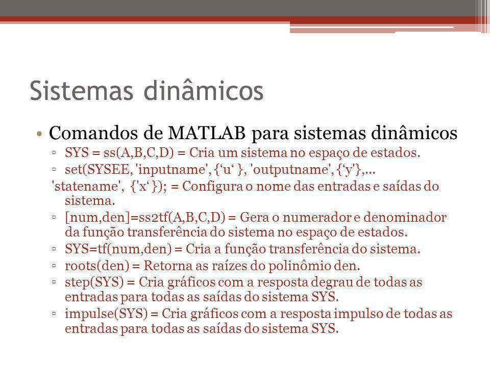 Sistemas dinâmicos Comandos de MATLAB para sistemas dinâmicos