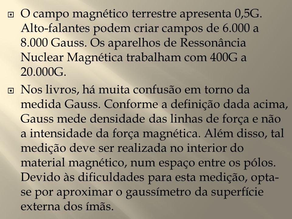 O campo magnético terrestre apresenta 0,5G
