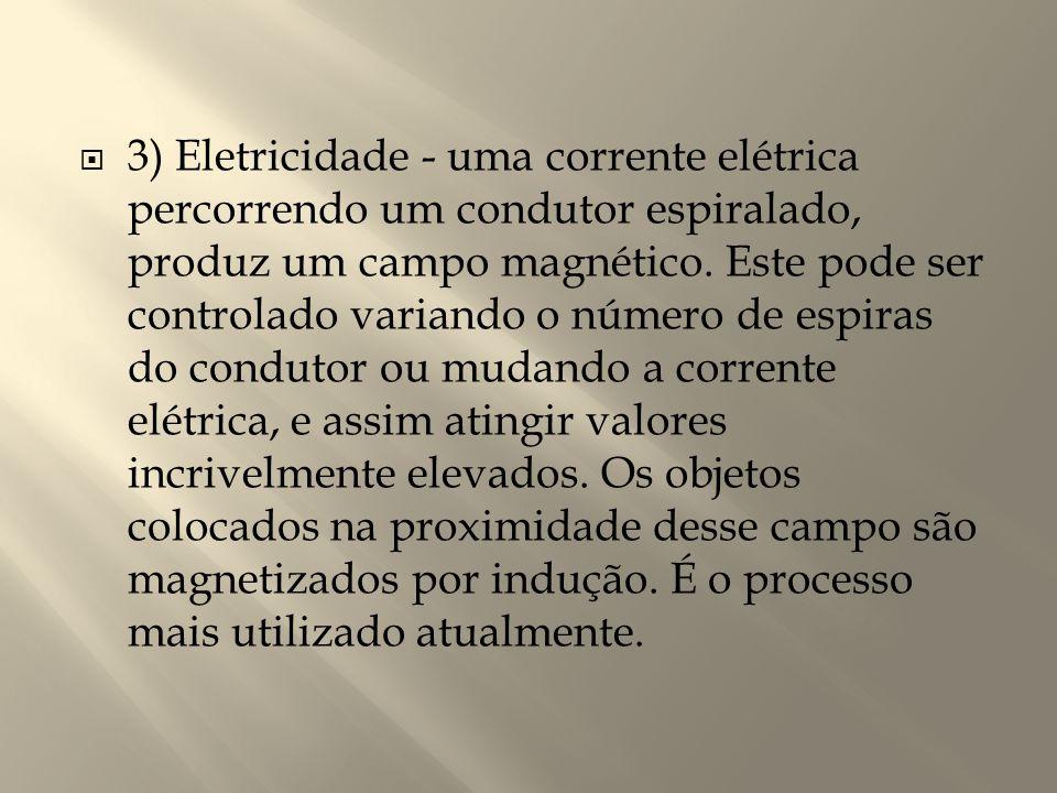 3) Eletricidade - uma corrente elétrica percorrendo um condutor espiralado, produz um campo magnético.