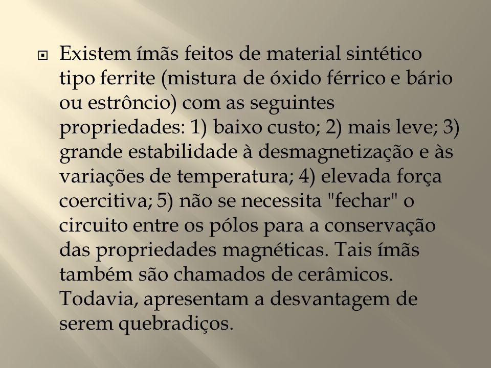 Existem ímãs feitos de material sintético tipo ferrite (mistura de óxido férrico e bário ou estrôncio) com as seguintes propriedades: 1) baixo custo; 2) mais leve; 3) grande estabilidade à desmagnetização e às variações de temperatura; 4) elevada força coercitiva; 5) não se necessita fechar o circuito entre os pólos para a conservação das propriedades magnéticas.