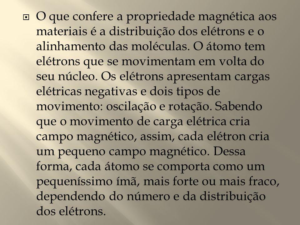 O que confere a propriedade magnética aos materiais é a distribuição dos elétrons e o alinhamento das moléculas.