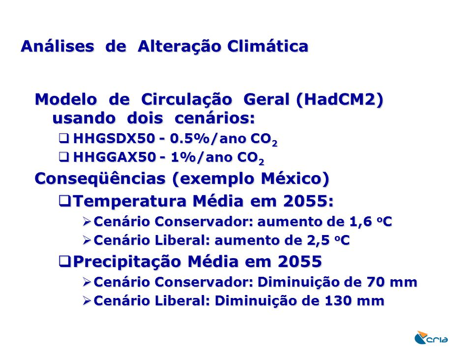 Análises de Alteração Climática