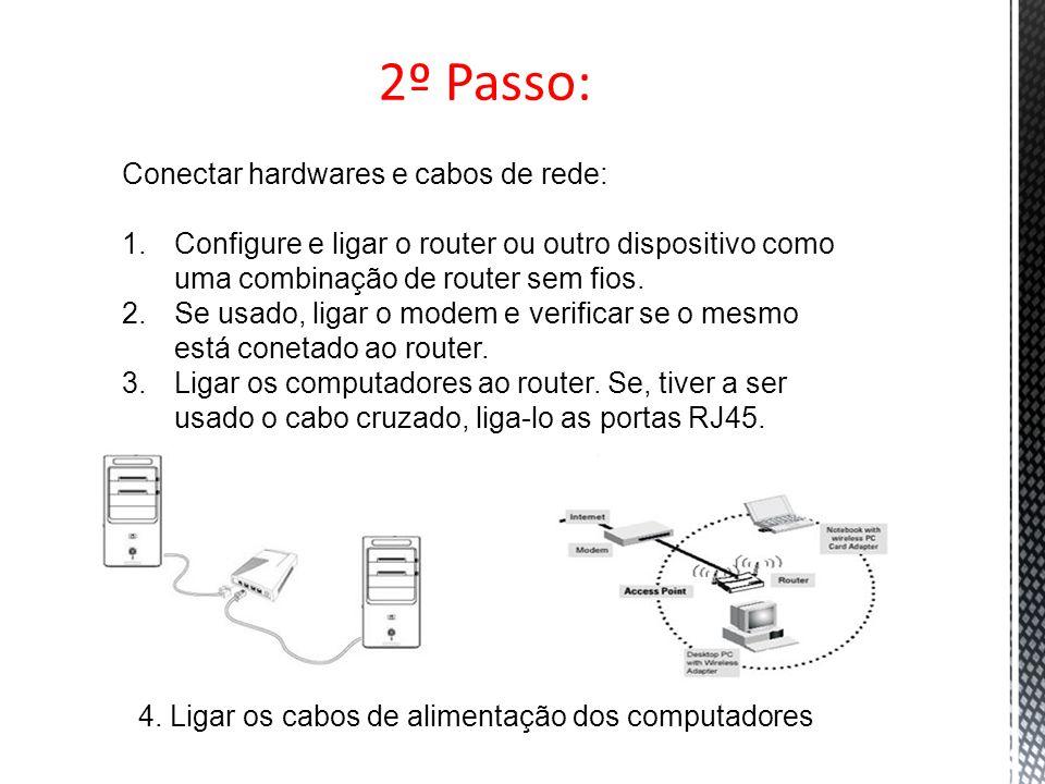 2º Passo: Conectar hardwares e cabos de rede: