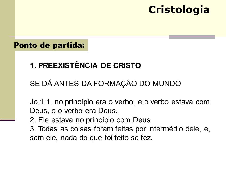 Cristologia Ponto de partida: 1. PREEXISTÊNCIA DE CRISTO