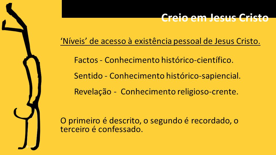 Creio em Jesus Cristo 'Níveis' de acesso à existência pessoal de Jesus Cristo. Factos - Conhecimento histórico-científico.