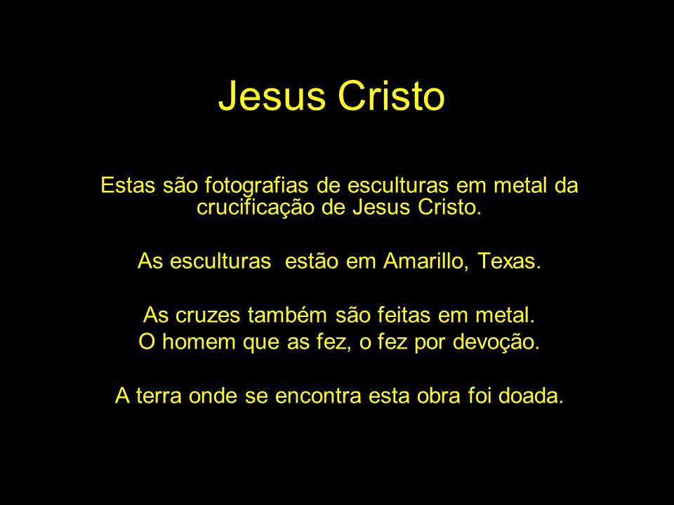 Jesus Cristo Estas são fotografias de esculturas em metal da crucificação de Jesus Cristo. As esculturas estão em Amarillo, Texas.
