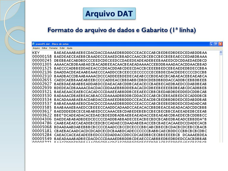 Formato do arquivo de dados e Gabarito (1ª linha)