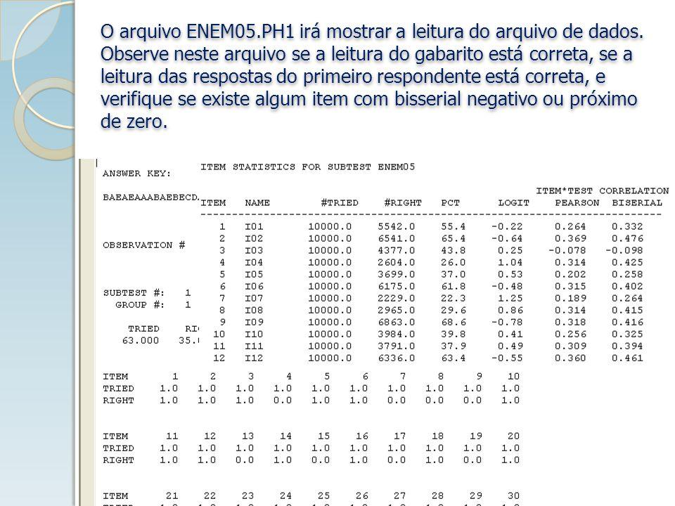 O arquivo ENEM05.PH1 irá mostrar a leitura do arquivo de dados.