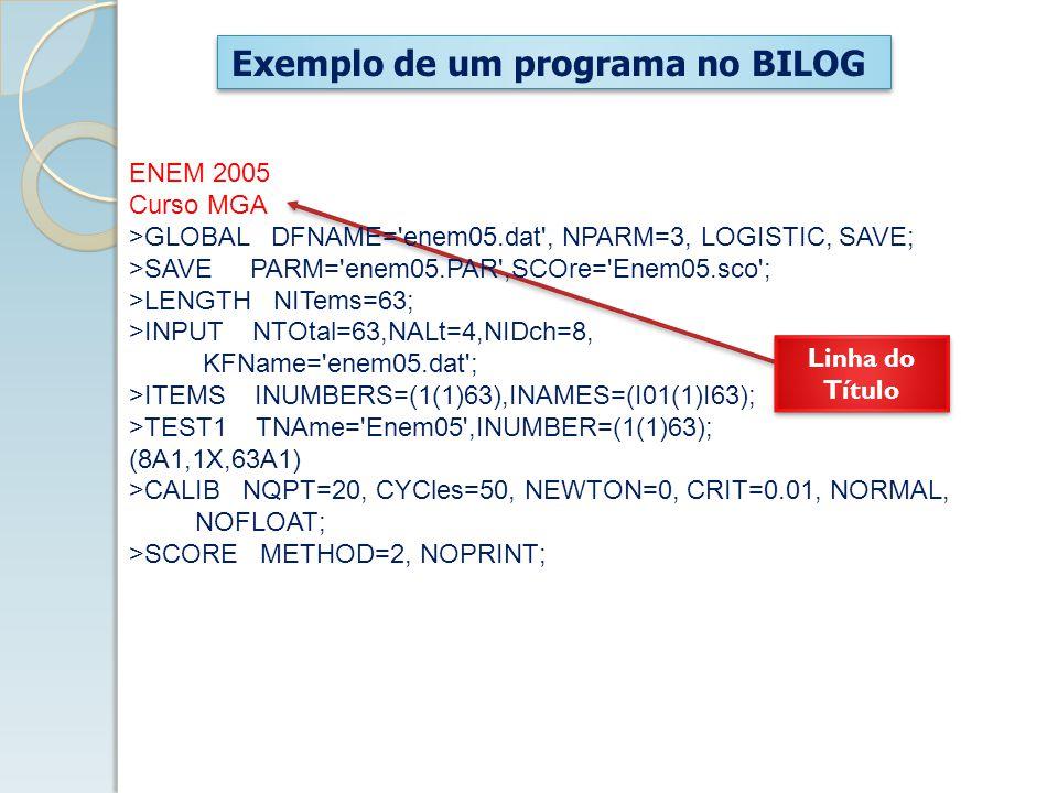Exemplo de um programa no BILOG