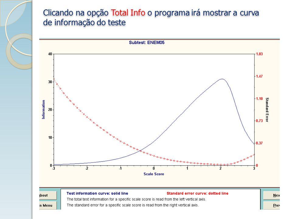 Clicando na opção Total Info o programa irá mostrar a curva