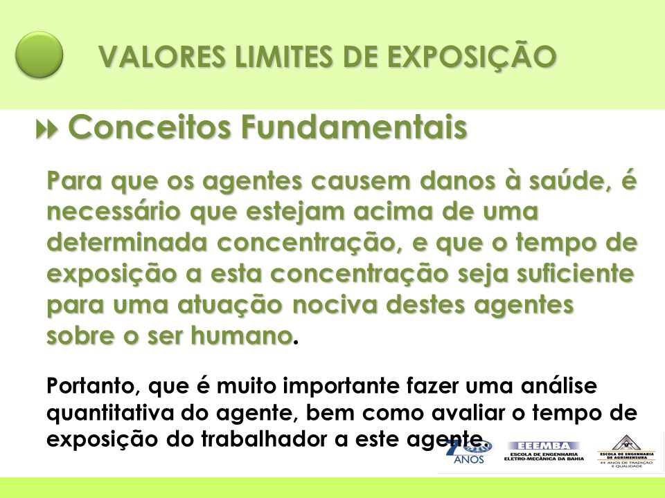 VALORES LIMITES DE EXPOSIÇÃO