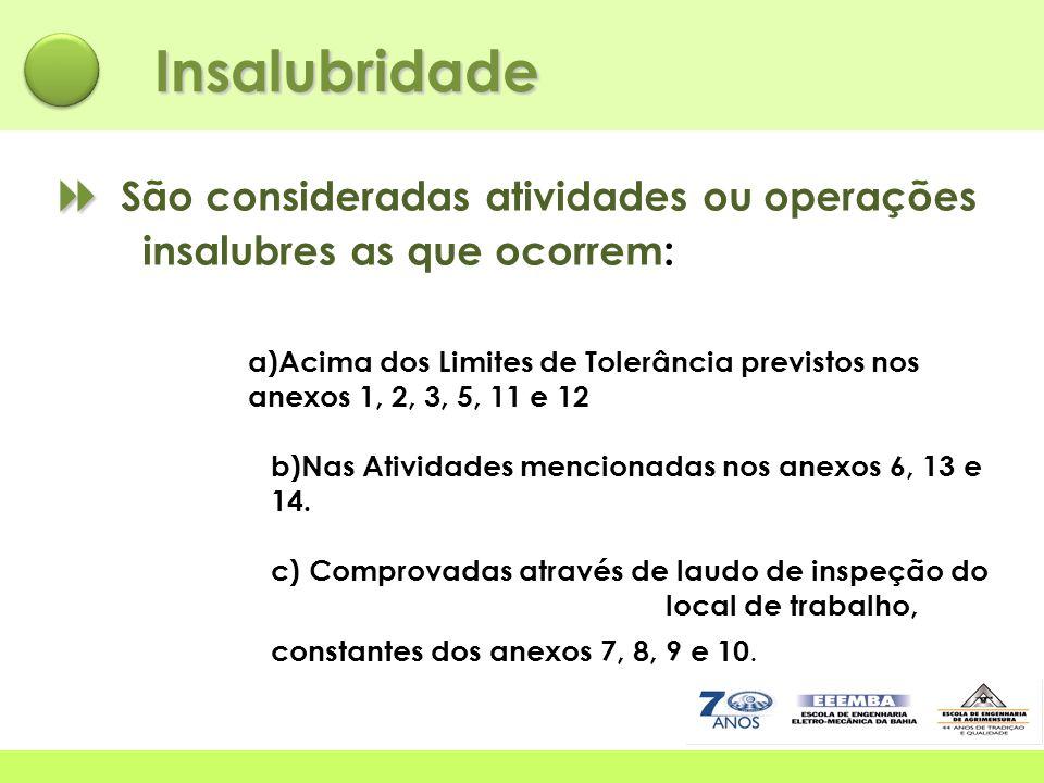 Insalubridade  São consideradas atividades ou operações insalubres as que ocorrem: