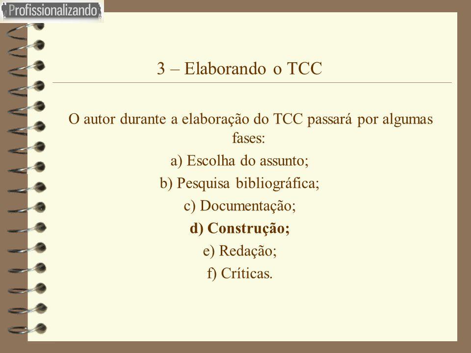 3 – Elaborando o TCC O autor durante a elaboração do TCC passará por algumas fases: a) Escolha do assunto;