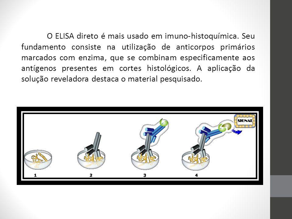 O ELISA direto é mais usado em imuno-histoquímica