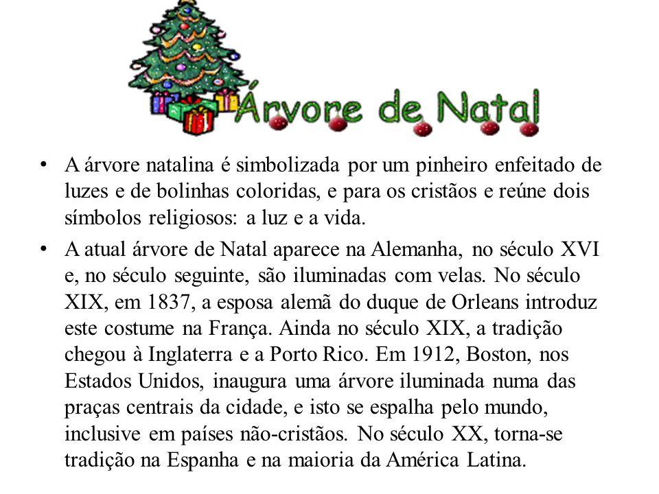 A árvore natalina é simbolizada por um pinheiro enfeitado de luzes e de bolinhas coloridas, e para os cristãos e reúne dois símbolos religiosos: a luz e a vida.