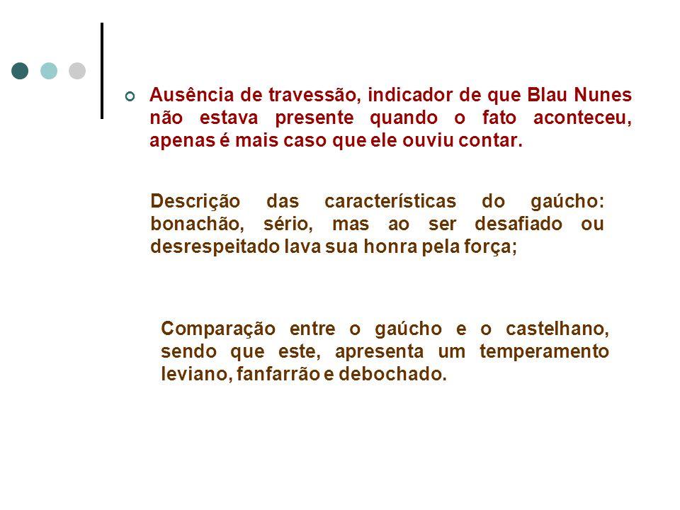 Ausência de travessão, indicador de que Blau Nunes não estava presente quando o fato aconteceu, apenas é mais caso que ele ouviu contar.