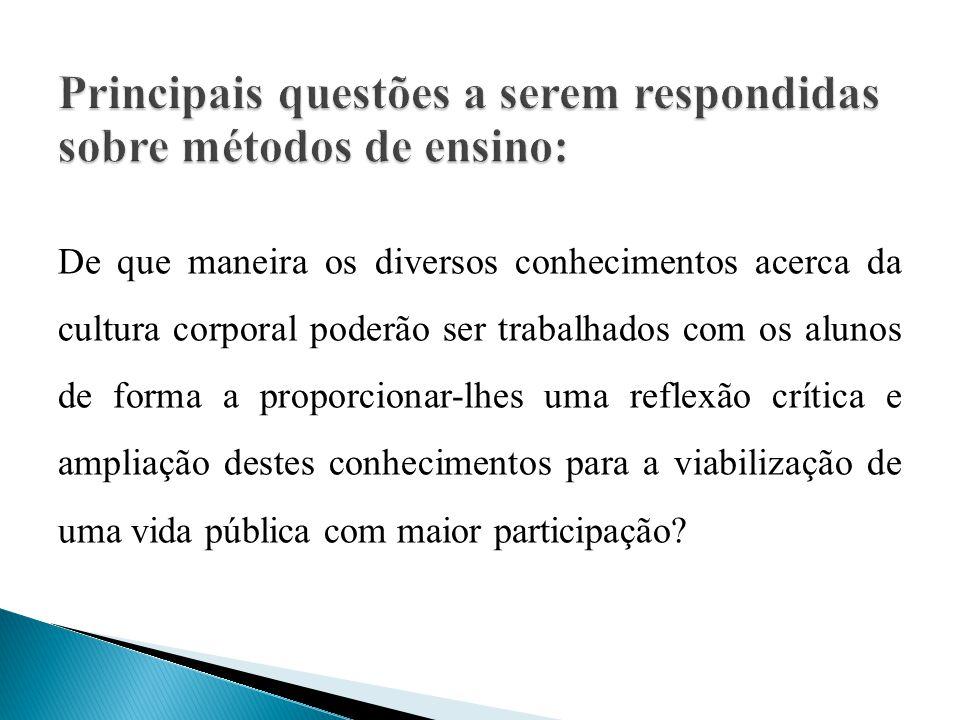 Principais questões a serem respondidas sobre métodos de ensino: