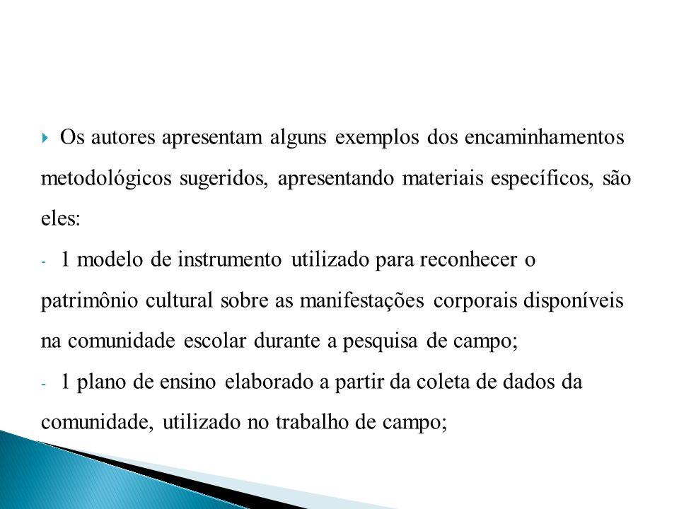 Os autores apresentam alguns exemplos dos encaminhamentos metodológicos sugeridos, apresentando materiais específicos, são eles: