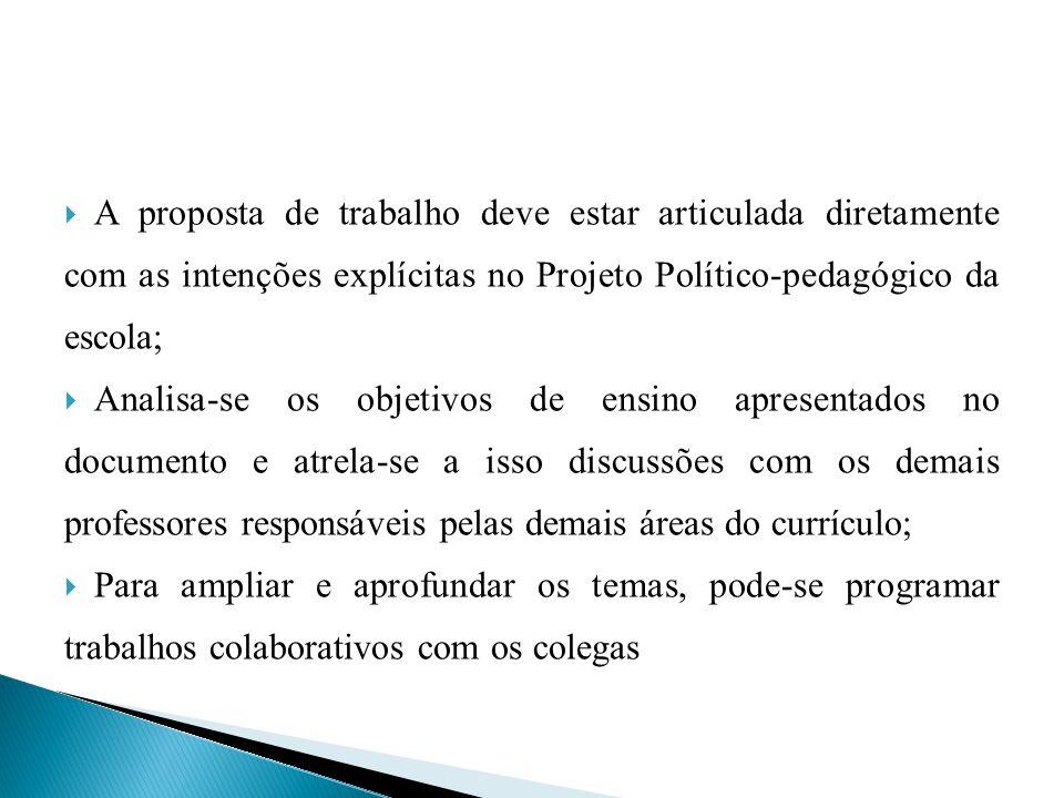 A proposta de trabalho deve estar articulada diretamente com as intenções explícitas no Projeto Político-pedagógico da escola;