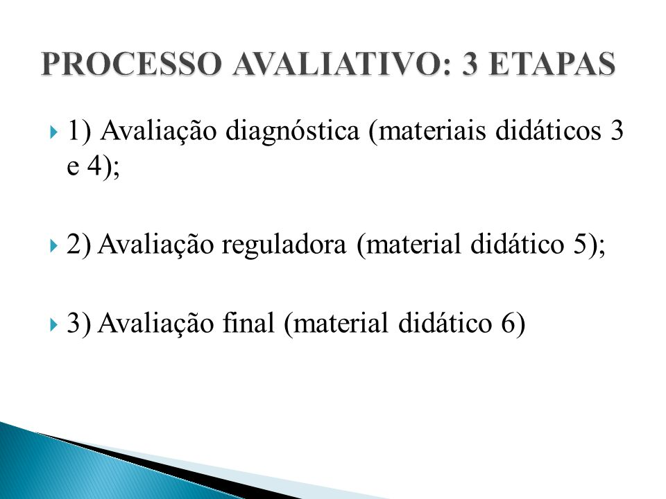 PROCESSO AVALIATIVO: 3 ETAPAS