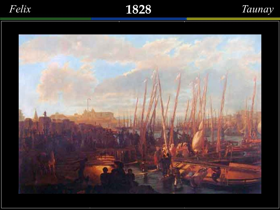 Felix Taunay 1828. Detalhes de uma Paisagem Histórica de um Desembarque no Largo do Paço , hoje Praça XV de Novembro.