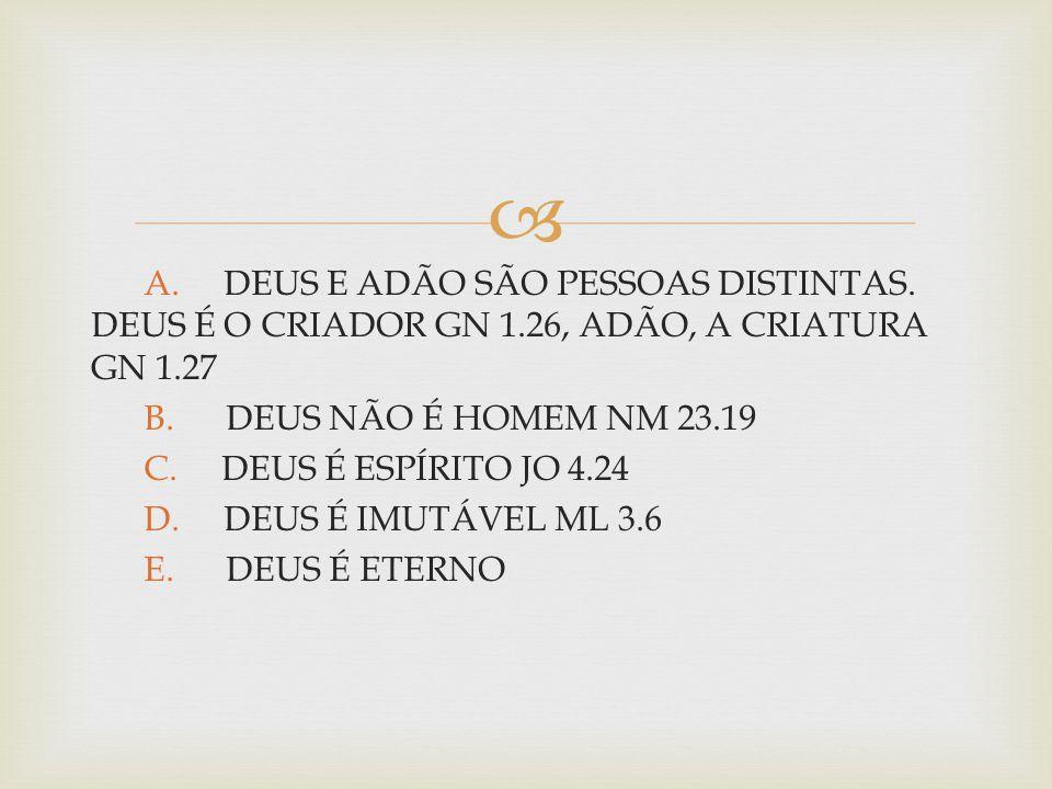 A. DEUS E ADÃO SÃO PESSOAS DISTINTAS. DEUS É O CRIADOR GN 1